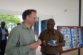 Break time discussion between Brian Arbic and RMU lecturer and former ship captain J.K. Adjetey