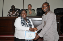 RMU lecturer and Women in Engineering Coordinator Catherine Asirifi and Vice Chancellor Elvis Nyarko