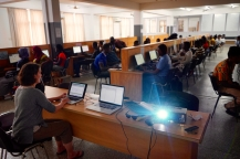 Students using Matlab in the computer room