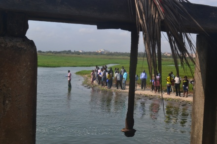 Students gather for estuary sampling