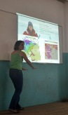 Professor Emily Schroyer lecturing in classrom