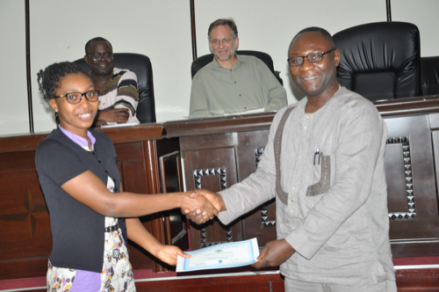 KUNST Engineering student Lily Lisa Yevugah and Vice Chancellor Elvis Nyarko